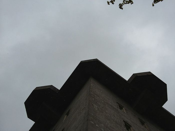 Looking Up the WWII Bunker at Heiligengeistfeld. · Hamburg Germany 040 Hamburgmeineperle War Remnants Fortification Flakturm Architecture Pragmatism Simplicity Up Cloudy Cloudy Sky Gray Sky