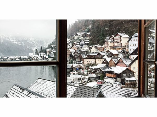 Hallstatt, Austria Pension Winter Holiday Snow Roof Chillyweather  Lakeside Winter Life's Simple Pleasures... Pretty, Beautiful, Lovely, Scenic, Charming, Quaint, Pleasing, Delightful, Picture-perfect Charming Houses UNESCO World Heritage Site Streets