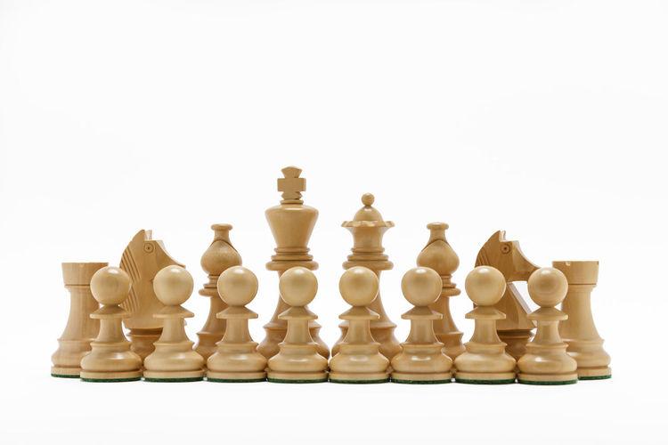 Full frame shot of chess board against white background