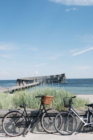 Bicycle Sea Transportation Water Beach Mode Of Transport Horizon Over Water Outdoors No People Nature Sky Denmark Nord Summer Scandinavia Lifestyle Photography
