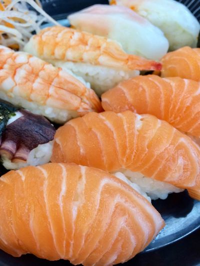 Food And Drink Food Healthy Eating Seafood Freshness Wellbeing Japanese Food Asian Food Salmon - Seafood Sushi Ready-to-eat No People Close-up Indoors  Fish Raw Food Rice Orange Color Still Life Sashimi