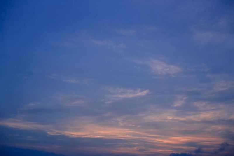 Beauty In Nature Sky Nature Low Angle View Cloud - Sky Scenics Backgrounds Sky Only Tranquility No People Blue Tranquil Scene Outdoors Full Frame Sunset Day