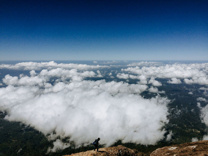 Scenic view of clouds over landscape against sky