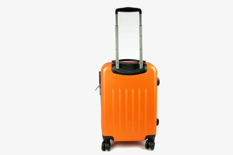 modern orange suitcase front view, on a white background. with the handle lid up Studio Shot Copy Space Single Object Orange Color White Background Equipment Safety Suitcase Luggage Trolleys Luggage Travel Destinations Vacation On The Road No People Cut Out Object Away Lever Close-up Still Life Lid Front View Destination Handle
