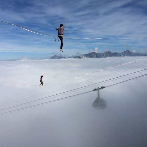Finding New Frontiers Slackline Fog Gondola Leisure Activity Sky Outdoors Adventure Extreme Sports Stunt Landscape Fribourg Switzerland Moléson Magic Moments EyeEmNewHere Mysterious Cloud BYOPaper! Live For The Story Live For The Story Shades Of Winter
