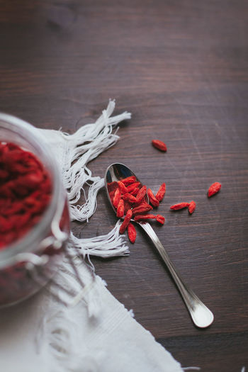 Goji Berries Close-up Day Food Freshness Goji Healthy High Angle View Indoors  No People Red Still Life Superfood Table Wood - Material Wool