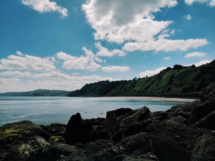#holcombe #beach #holcombebeach #rocks #sea #sand Sea Holcombe Tree Sky Landscape Cloud - Sky Shore Rocky Coastline Rugged Seascape Coast First Eyeem Photo