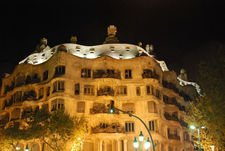 Architecture Barcelona Barcelona, Spain Building Exterior Built Structure Casa Mila ( La Pedrera ) Casa Milà Gaudì Catalonia Catalunya Gaudi Illuminated Light Lights Low Angle View Night Night Lights Night Photography Nightphotography No People Outdoors Sky SPAIN Tourism Travel Destinations