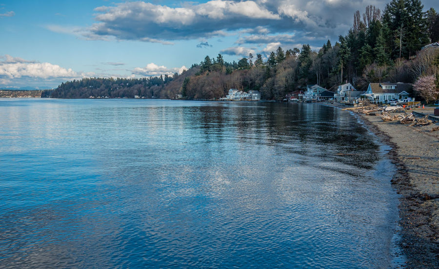 A view of the shoreline in Dash Point, Washington. Pacific Northwest  Washington State Beauty In Nature Dash Point Day Homes Lake Landscape Mountain Nature Nautical Vessel No People Ocean Outdoors Scenics Sky Tranquil Scene Tranquility Tree Water Waterfront