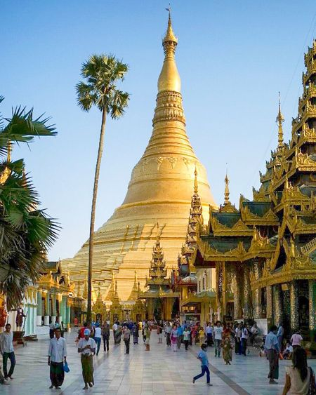 Shwedagon Pagoda Religion Spirituality Place Of Worship Gold Colored Large Group Of People Real People Outdoors Sky Building Exterior Tree Men Architecture Day Cultures Yangon The Photojournalist - 2017 EyeEm Awards