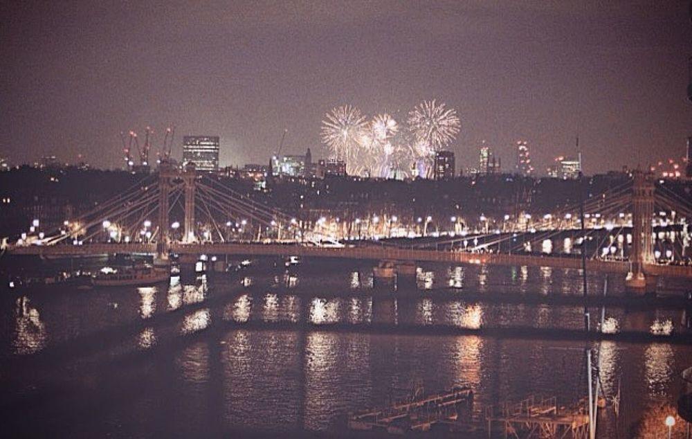 London Albert Bridge chelsea Chelsea 2015  Fireworks New Year's Eve Battersea