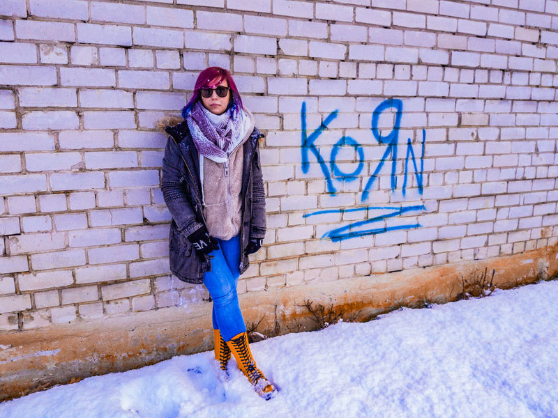 korn Korn Fashion Winter Cold Temperature Full Length Outdoors Snow One Person Young Adult Warm Clothing Adult Day Lifestyles Only Women Women One Woman Only Young Women Real People Adults Only People Portrait One Young Woman Only