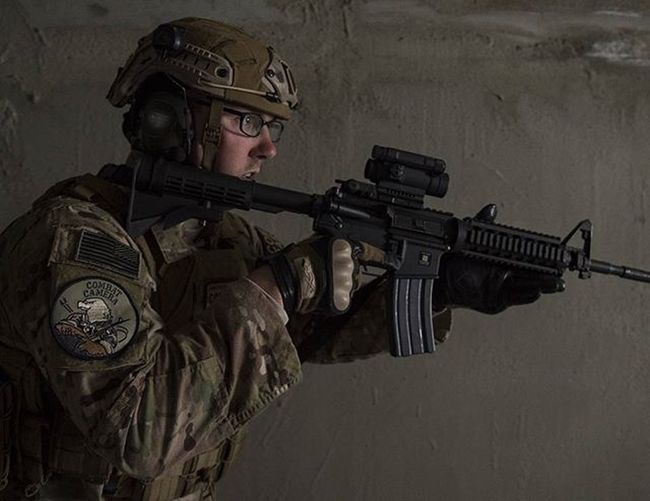 Usairforce Combatcamera Airman practices Cqb tactics Photojournalism Comcam Photooftheday Night Usafphoto USAF Airforce Miltary