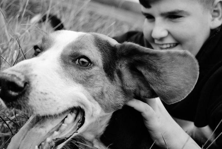 Smiling Teenage Boy Touching Dog