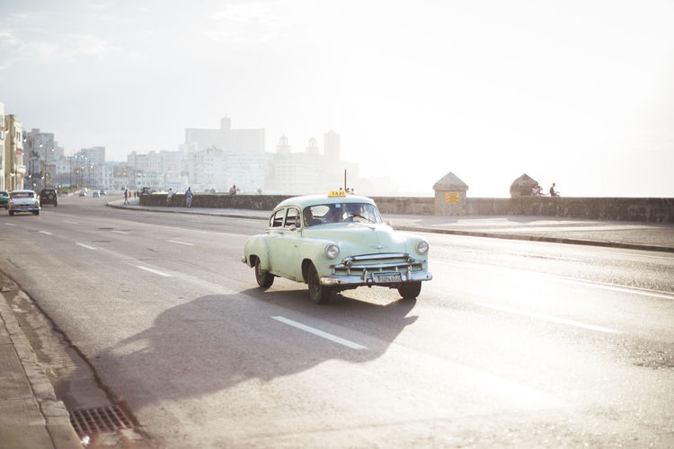Architecture Car Cars City Clear Sky Cuba Day Havana Land Vehicle Malecon No People Oldtimer Outdoors Road Sky Street Sunlight Taxi Transportation