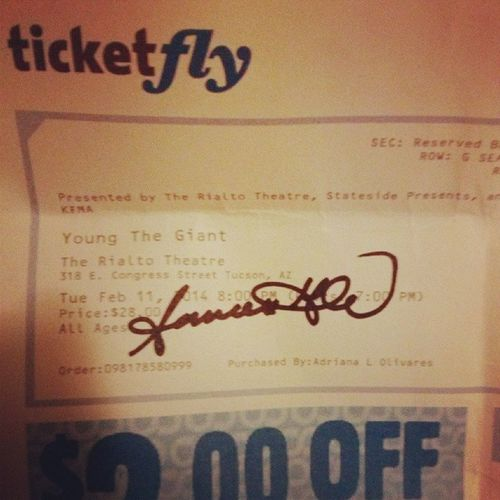 Ticket signed by Sameer Gadhia :'D Youngthegiant  MindOverMatter