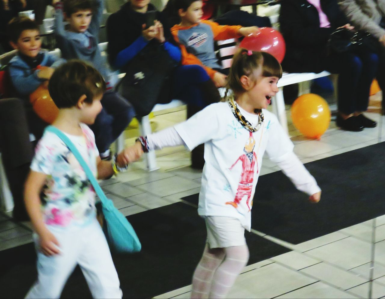 childhood, boys, girls, child, elementary age, leisure activity, enjoyment, lifestyles, real people, togetherness, walking, casual clothing, full length, playing, happiness, day, indoors, school uniform, people, adult