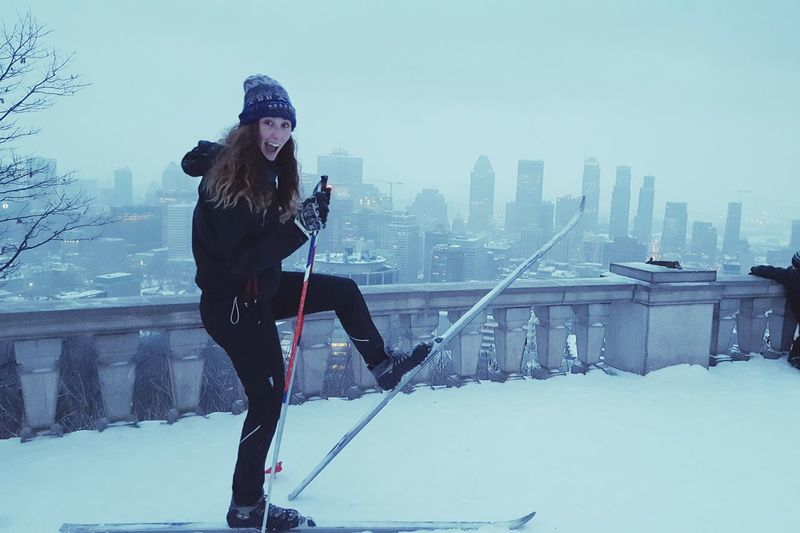 Women Around The World Winter Snow Cold Temperature Warm Clothing Wireless Technology City Communication One Person Adults Only Adult People Cityscape Outdoors Sky Connection Technology Cloud - Sky Urban Skyline Bridge - Man Made Structure Only Women EyeEmNewHere