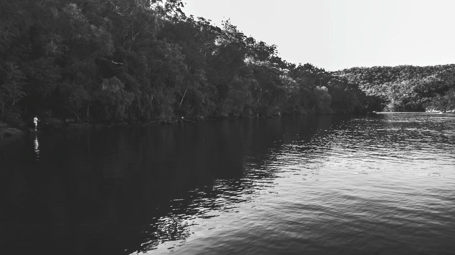 Man fishing in Cowan Creek at Apple Tree Bay, Berowra, Sydney. Lumia930 Black & White Black And White Bw