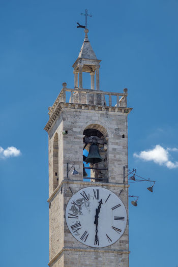 Church Architecture Bell Tower Clock Clock Tower Cross Hour Hand Minute Hand Outdoors Sky