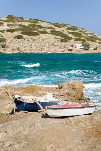 Taken in Mochlos mountain is Pseira Aegean Sea Crete Greece Fishing Boats Mediterranean  Mochlos Ocean View Scenic Surf Beach Blue Sky Crete Fishing Boat Greece Island No People Ocean Pseira Pseira Island Sand Sea Sky Water Waves, Ocean, Nature