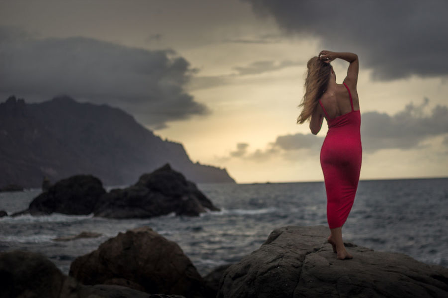 Benijo Beach Beauty In Nature Blond Hair Cloud - Sky Day Full Length Mountain Nature One Person Outdoors People Real People Red Scenics Sea Sky Standing Sunset Tranquil Scene Tranquility Water Women Be. Ready.