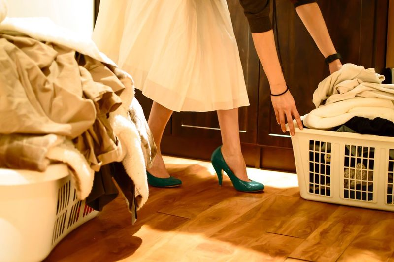 Real life laundry Low Section Human Leg Indoors  Adults Only Human Body Part People Adult One Woman Only One Person Day High Heels Heels Skirt Woman Laundry Laundry Day Towel Basket Domestic Life Break The Mold The Portraitist - 2017 EyeEm Awards
