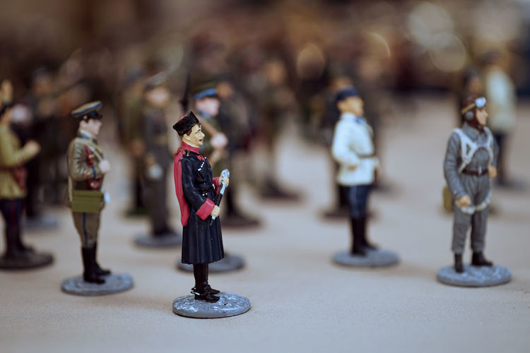 Armed Forces Army Soldier Art And Craft Close-up Creativity Figurine  Focus On Foreground Full Length Government Human Representation Indoors  Male Likeness Military No People Representation Selective Focus Still Life Table Toy Uniform