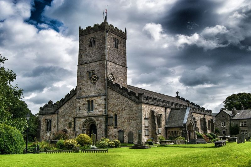 Lawn In St Marys Church Against Cloudy Sky
