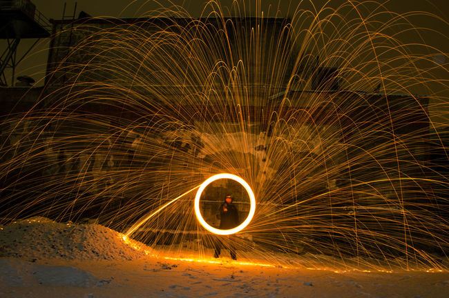 Abandoned Buildings Danger Heat - Temperature Lightpainting Long Exposure Motion Night Outdoors Sparks Spinning Steelwoolphotography Wire Wool