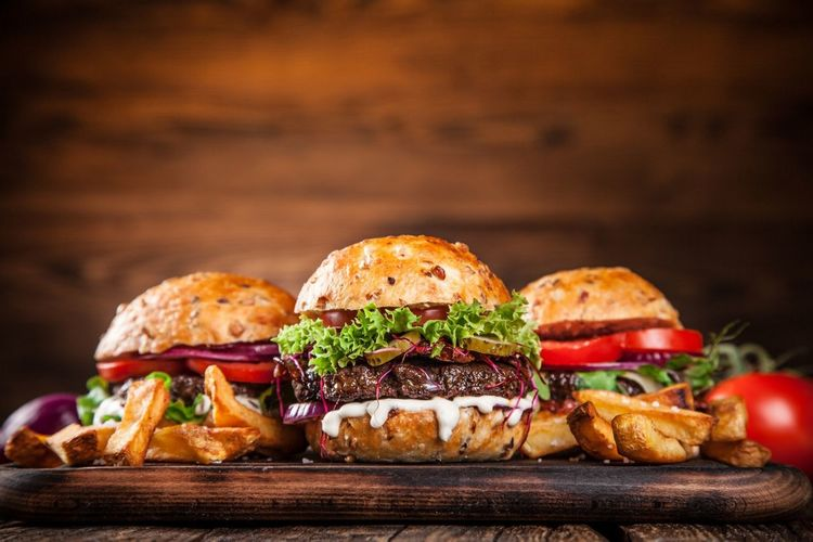 Hamburger Tomato Lettuce Bread Minced Ready-to-eat Bun Meat Ground Beef Vegetable Beef Food And Drink Burger Cutting Board Cucumber Take Out Food Savory Food Food Indoors  Meal