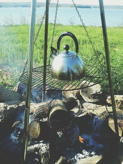 Campfire Roughing It Coffee Break Kettle Fire Camping Good Morning Adventure Buddies