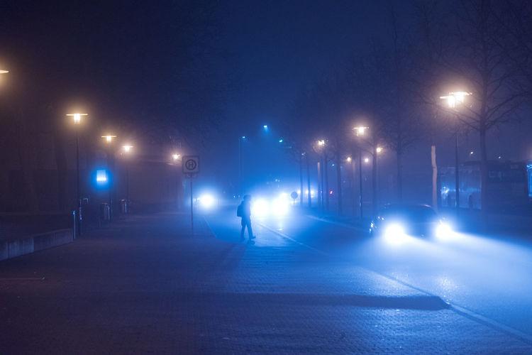 Blue Bright Illuminated Lights Night No People Outdoors Road Sillouette Street Light Street Light