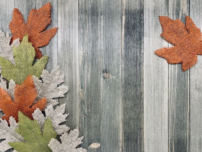 High angle view of orange leaves on wooden fence
