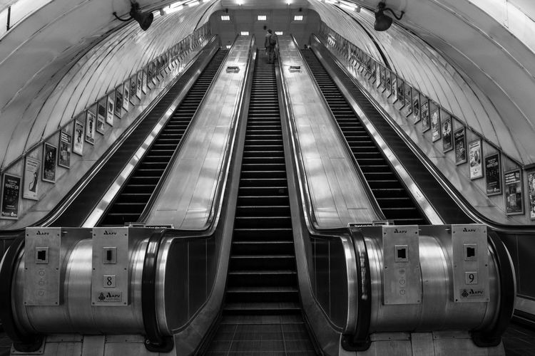 London Underground Underground Station  Black And White Central Perspective Escalator Futuristic Indoors  Low Angle View Modern No People Steps And Staircases Subway Station Technology Transportation EyeEmNewHere