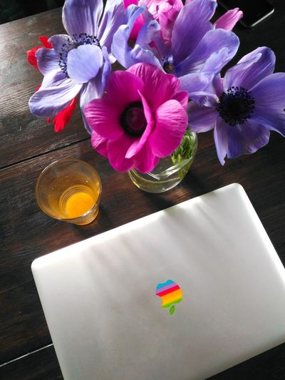Bright Computer Rainbow Orangejuice Flowers Onthetable Light Italy🇮🇹 Breakfast Colorful Colors Kitchen
