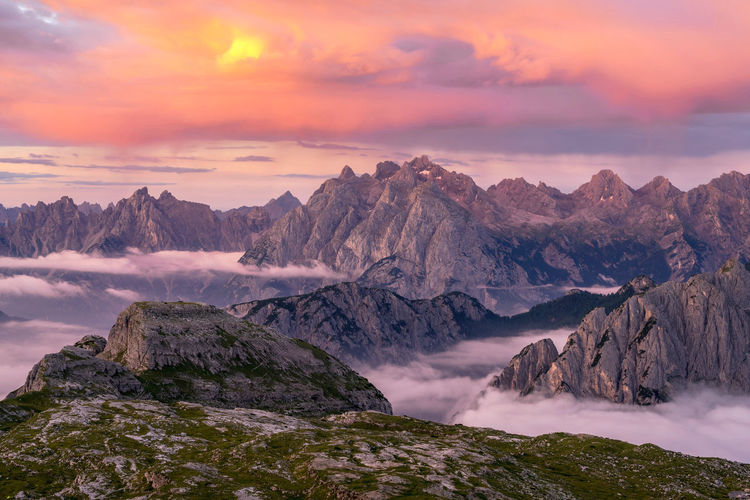 Sunrise over the ridges of Dolomites Mountains Amazing Sunrise Mountain Italy Dolomites, Italy Landscape_Collection Colours Sky Magical Outdoors Landscape Nature Remote Beautiful Beauty In Nature Sunlight Mountain Peak Idyllic Tranquil Scene Europe Spectacular Travel Destinations View Wilderness Wild