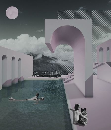 Digital composite image of people swimming in pool
