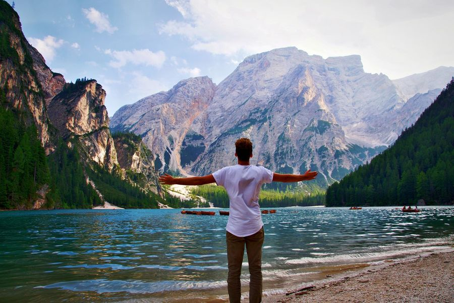 Lost In The Landscape Mountain Lake Meditating Nature Scenics Landscape Vacations One Person Water Travel Travel Destinations Italia Italy Lago Di Braies Lago Di Braies (Pragser Wildsee) Tranquil Scene