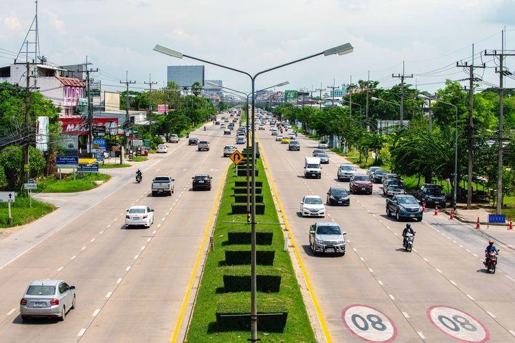 traffic Bangkok Thailand Transportation Car Motor Vehicle Mode Of Transportation Road Street City Traffic Sky Tree High Angle View