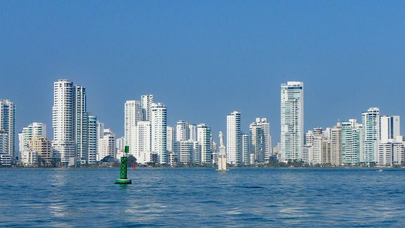 Cartagena, Colombia Columbia Port Of Cartagena Skyline No People Skyscraper View From Ship