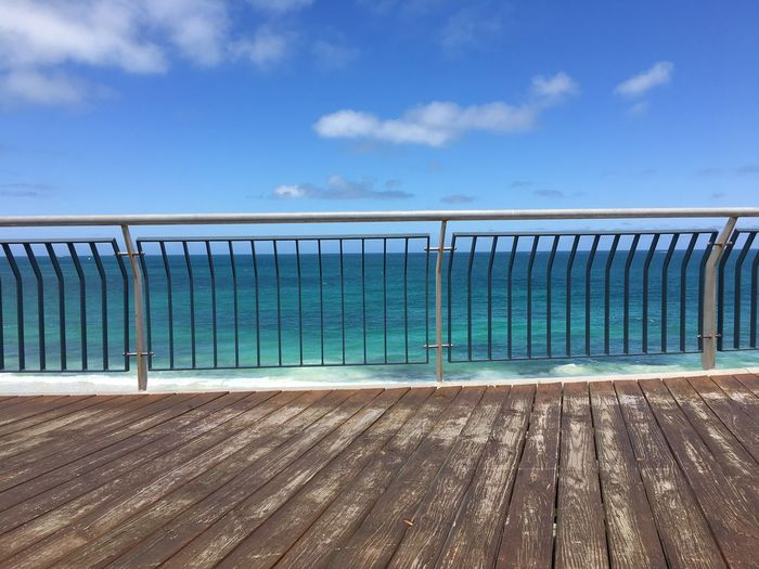 Australia Beach Beauty In Nature Blue Bridge - Man Made Structure Cloud - Sky Day Decking Decking Wood Horizon Over Water Indian Ocean Landscape Nature No People Outdoors Power In Nature Promenade Railings Sea Sky Vacations Water Wave Wood Worn