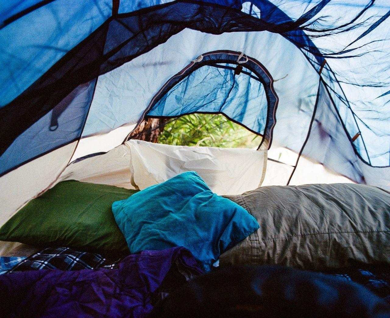 Inside in tent