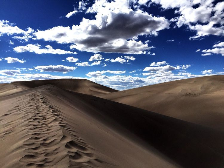 Sand Sand Dune Desert Sky Arid Climate Day Tranquil Scene Landscape Tranquility Scenics Outdoors No People Beauty In Nature Cloud - Sky Low Angle View Alone First Eyeem Photo