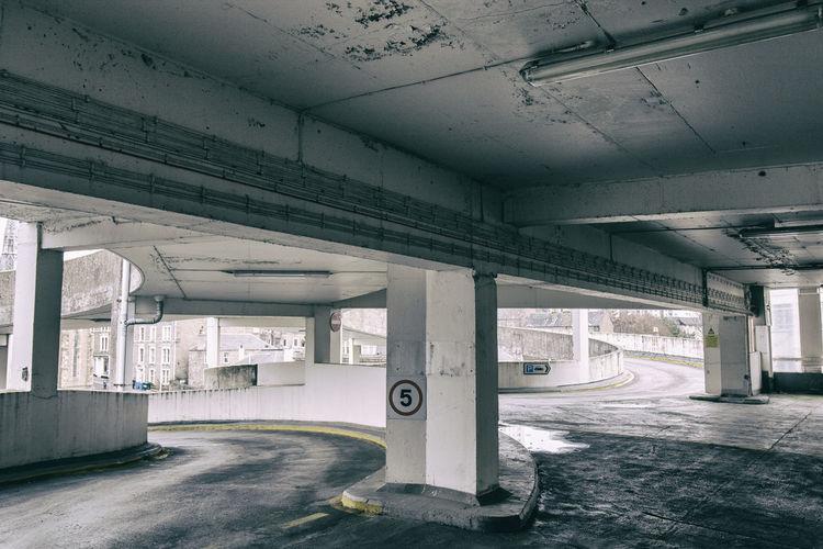 Interior of empty parking lot