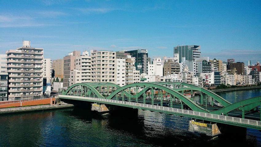 Bridge Green Bridge Sumidariver 27km 26 Bridges Tokyo Buildings Beautiful Day Architecture Architecture_collection Architecturephotography Architecturelovers Tokyo_architecture Tokyobridge Tokyo Daytripout Japan Travelphotography