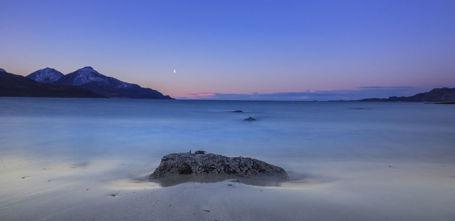 Grotfjord Norway Astronomy Beach Beauty In Nature Clear Sky Day Horizon Over Water Iceberg Moon Nature No People Nordic Beach Outdoors Physical Geography Scenics Sea Sky Sunset Tranquil Scene Tranquility Water