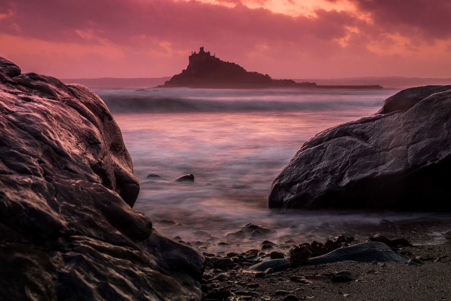 St MIchaels Mount in cornwall Orange Sky St Michaels Mount Beauty In Nature Blurred Seascape Blurred Skyscape Long Exposure Sea Sky Sunset Water Wave