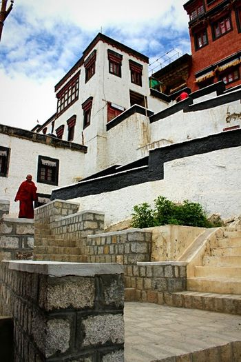 Thikseymonastery Monk  Feel The Journey Local People Travel Photography Blue Sky Thiksey Original Experiences Jammu And Kashmir Ladakh_lovers Incredible India June 2016 Ladakh Building Exterior Architecture Buddhism Monastery Exterior View What Who Where India Check This Out Tourism Built Structure Travel Destinations Outdoors Relaxation Pilgrimage