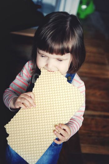Child Girls Childhood One Girl Only Indoors  Cute People Toddler Girl Snack Time! Eating Hungry Contrast Waffles Waffles Love Kids Kids Being Kids Kids Photography Funny Moments Caught In The Moment Caught On Camera Healthy Appetite